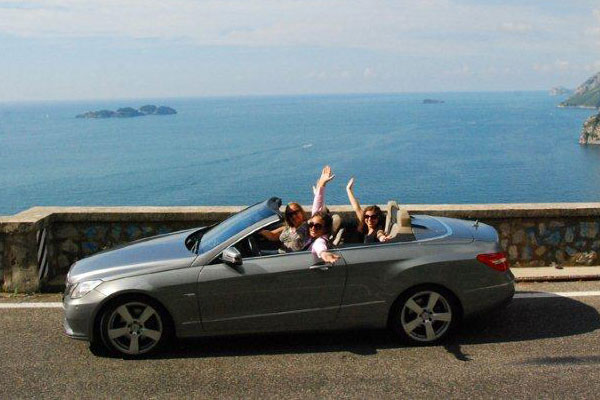 Amalfi coast with Mercedes E class cabriolet