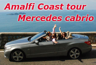 Amalfi Coast tour Mercedes cabrio Full day excursion in Pompei Sorrento Positano